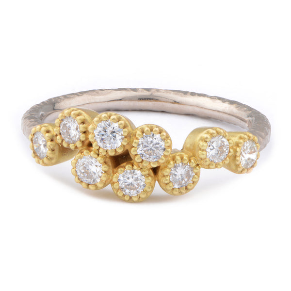 Fiori 18ct White & 18ct Yellow Gold Cluster Diamond Ring - James Newman Jewellery