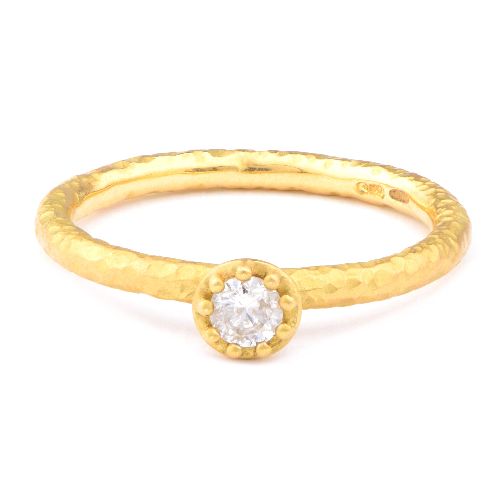 Fiori Yellow Gold Solitaire Diamond Ring - James Newman Jewellery