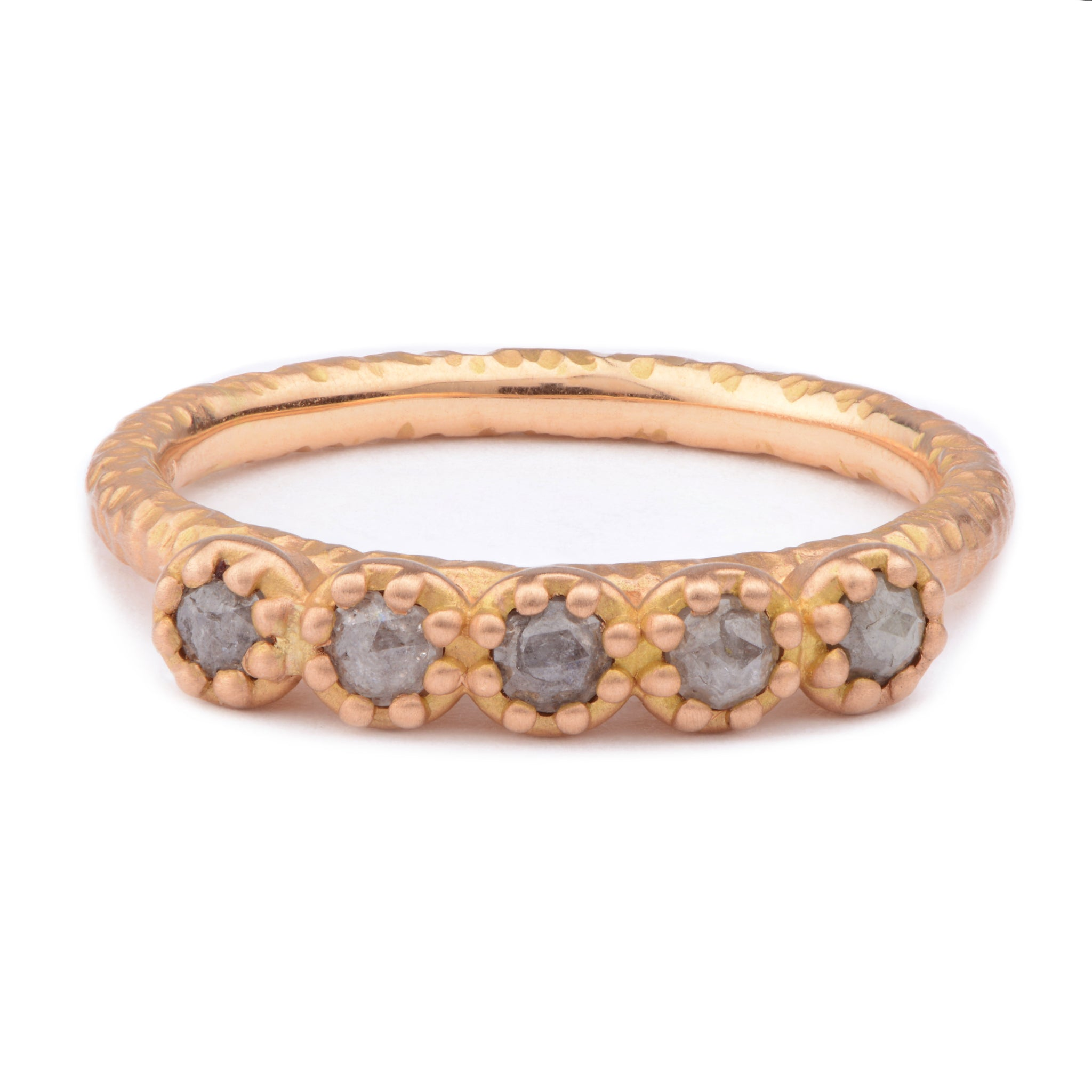 Fiori Red Gold Part Eternity Ring - James Newman Jewellery