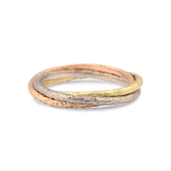 Narrow Hand Forged 18ct Gold Russian Wedding Ring - James Newman Jewellery