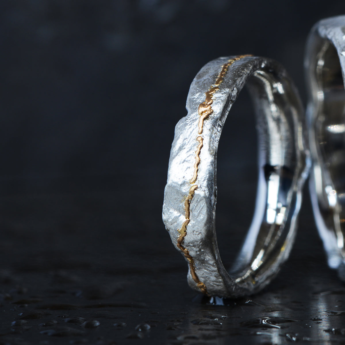 Medium Silver Flux Ring with Dashed Gold - James Newman Jewellery