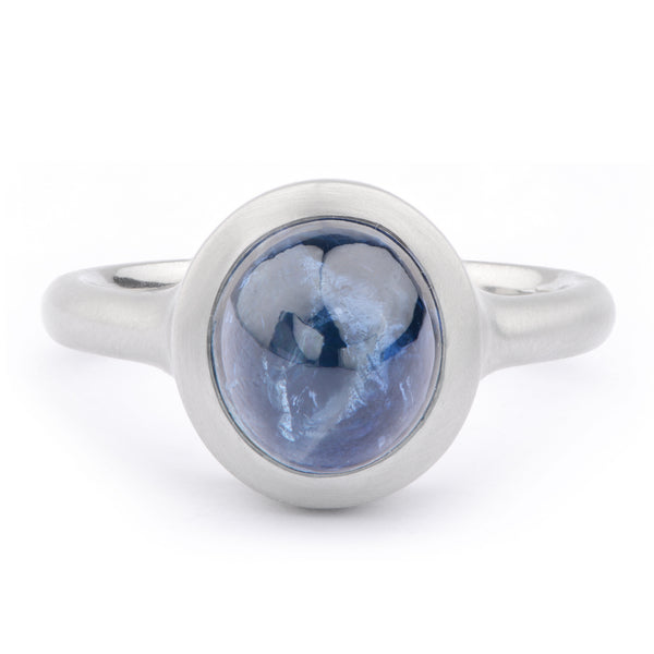 Ocean Blue Cabochon Sapphire Platinum Ring - James Newman Jewellery