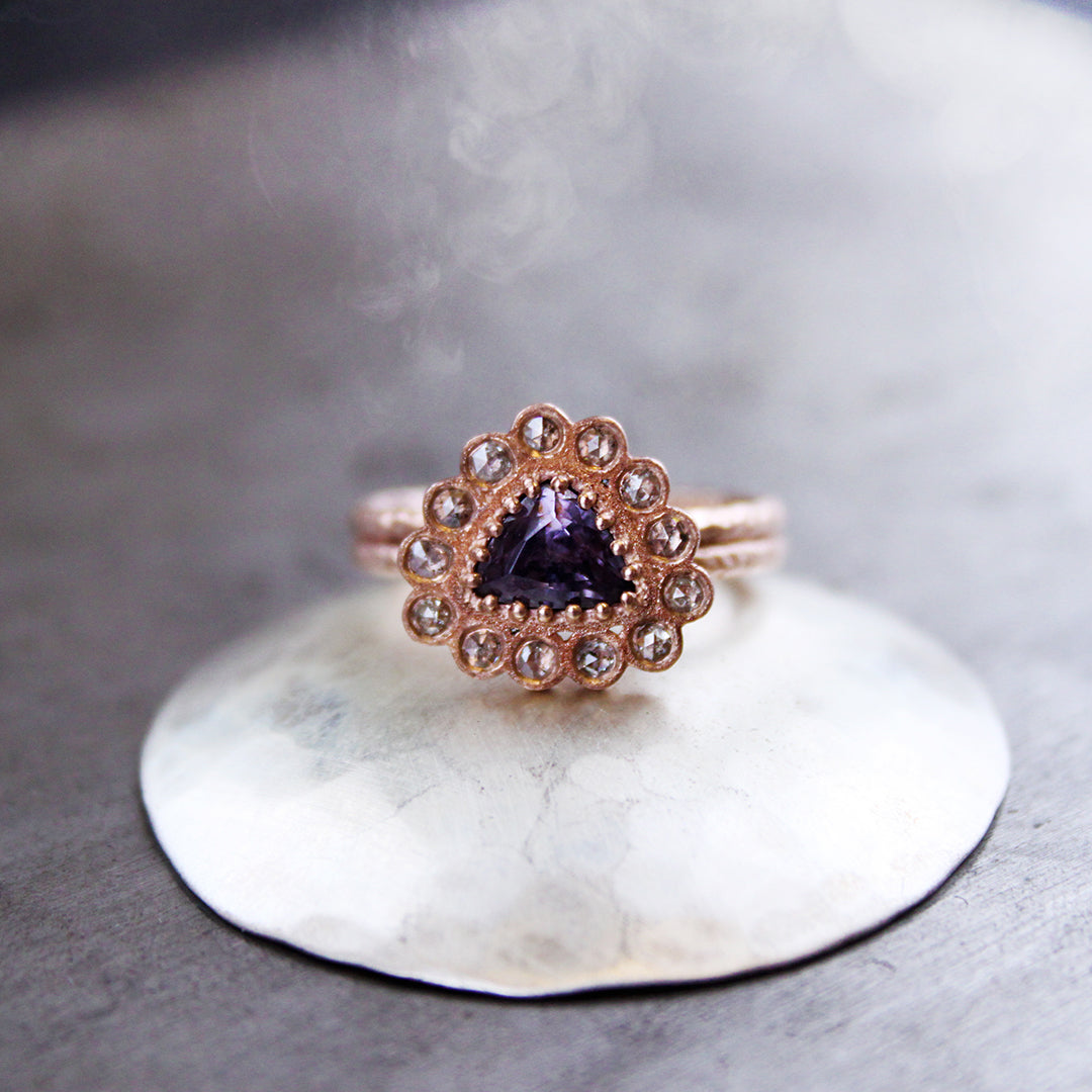 Spinel and Diamond Red Gold Ring