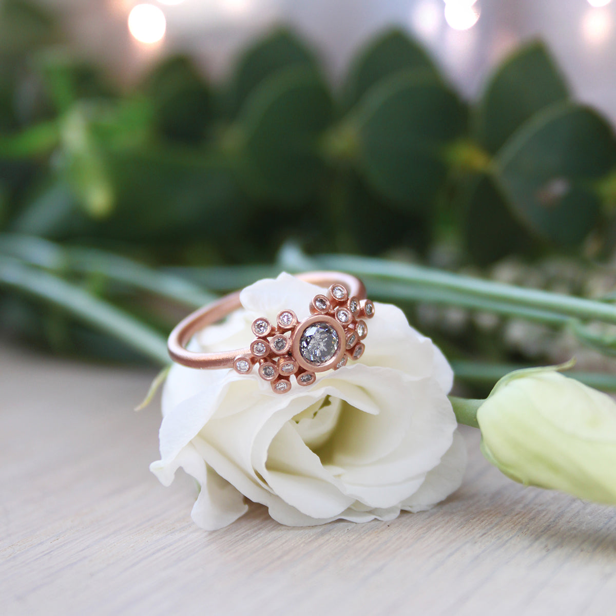 50pt Salt and Pepper Diamond & 9ct Red Gold Cluster Ring - James Newman Jewellery