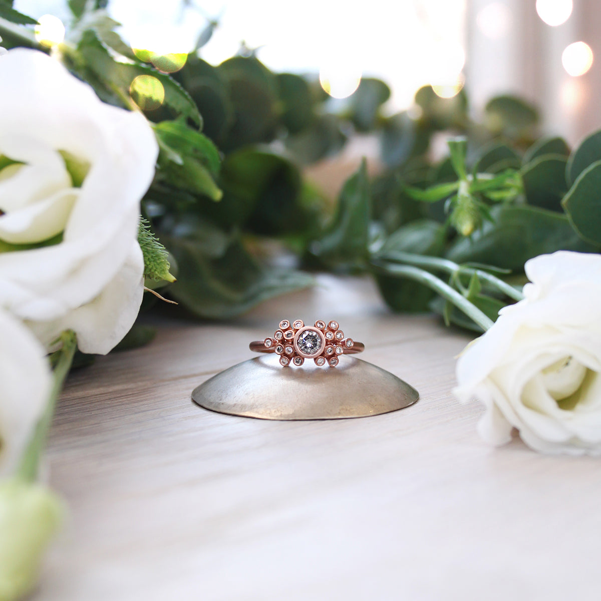 30pt Salt and Pepper Diamond & 9ct Red Gold Cluster Ring
