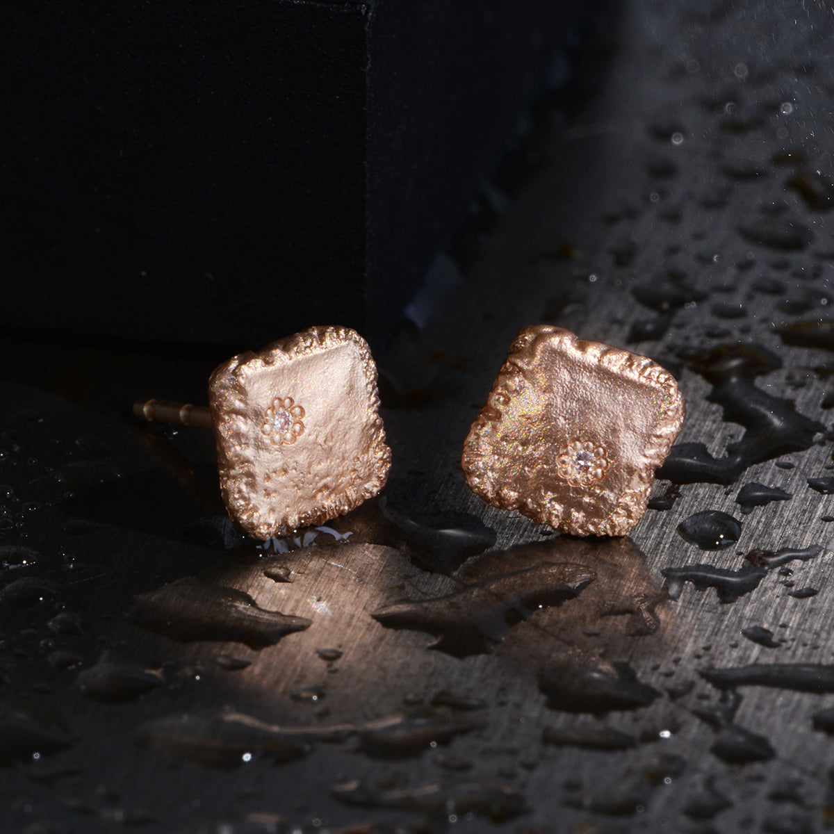 Flux Square Studs With Salt & Pepper Diamonds