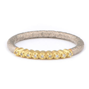 Fiori 18ct White & 18ct Yellow Gold Part Eternity Ring - James Newman Jewellery