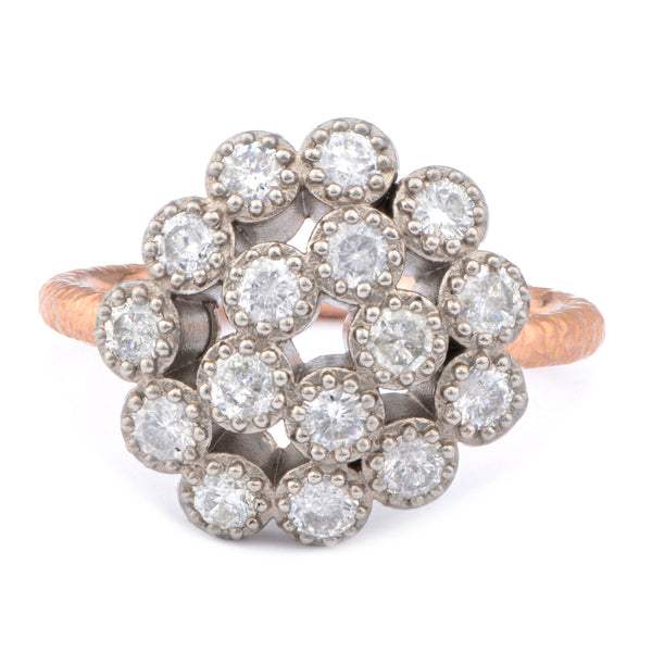 Fiori Palladium & 9ct Red Gold Random Cluster Ring - James Newman Jewellery