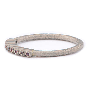 Fiori 18ct White Gold Narrow Hand Forged Ruby Eternity Ring - James Newman Jewellery
