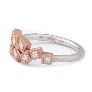 Random Princess Cut Cluster Fiori Ring - James Newman Jewellery
