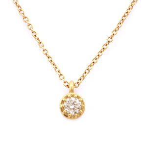 Fiori Yellow Gold Single Stone Diamond Pendant - James Newman Jewellery