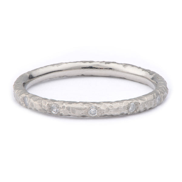 Fiori Palladium Flush Set Diamond Ring - James Newman Jewellery