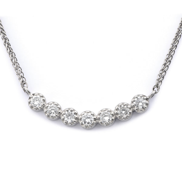 Fiori Linear Set Diamond Pendant - James Newman Jewellery