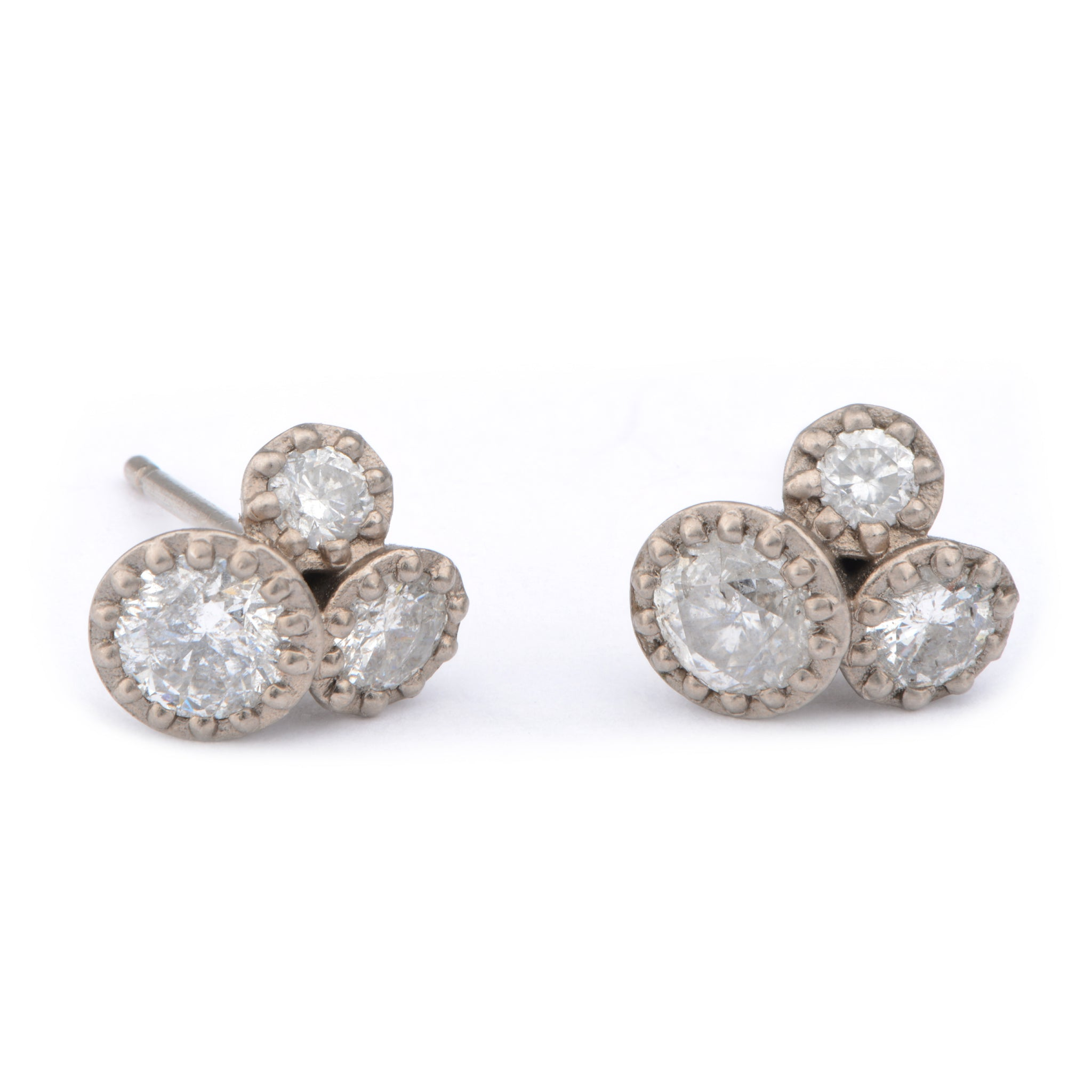 Fiori Tri-Set Diamond 18ct White Gold Studs - James Newman Jewellery
