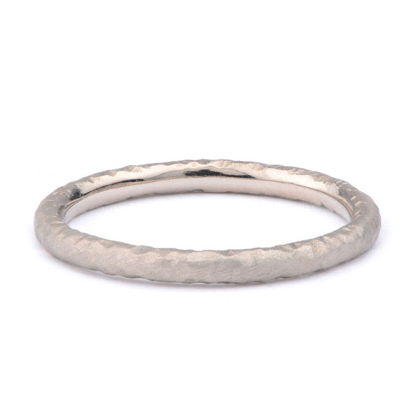 White Gold Hand Forged Band Ring - James Newman Jewellery