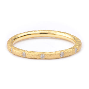Fiori Yellow Gold Flush Set Diamond Ring - James Newman Jewellery