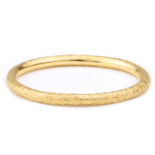 Yellow Gold Narrow Hand Forged Band Ring - James Newman Jewellery