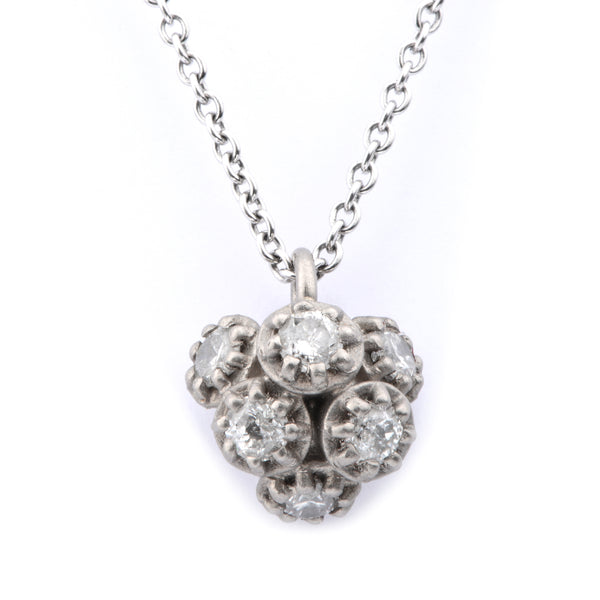 Fiori Cluster 18ct White Gold Diamond Pendant - James Newman Jewellery