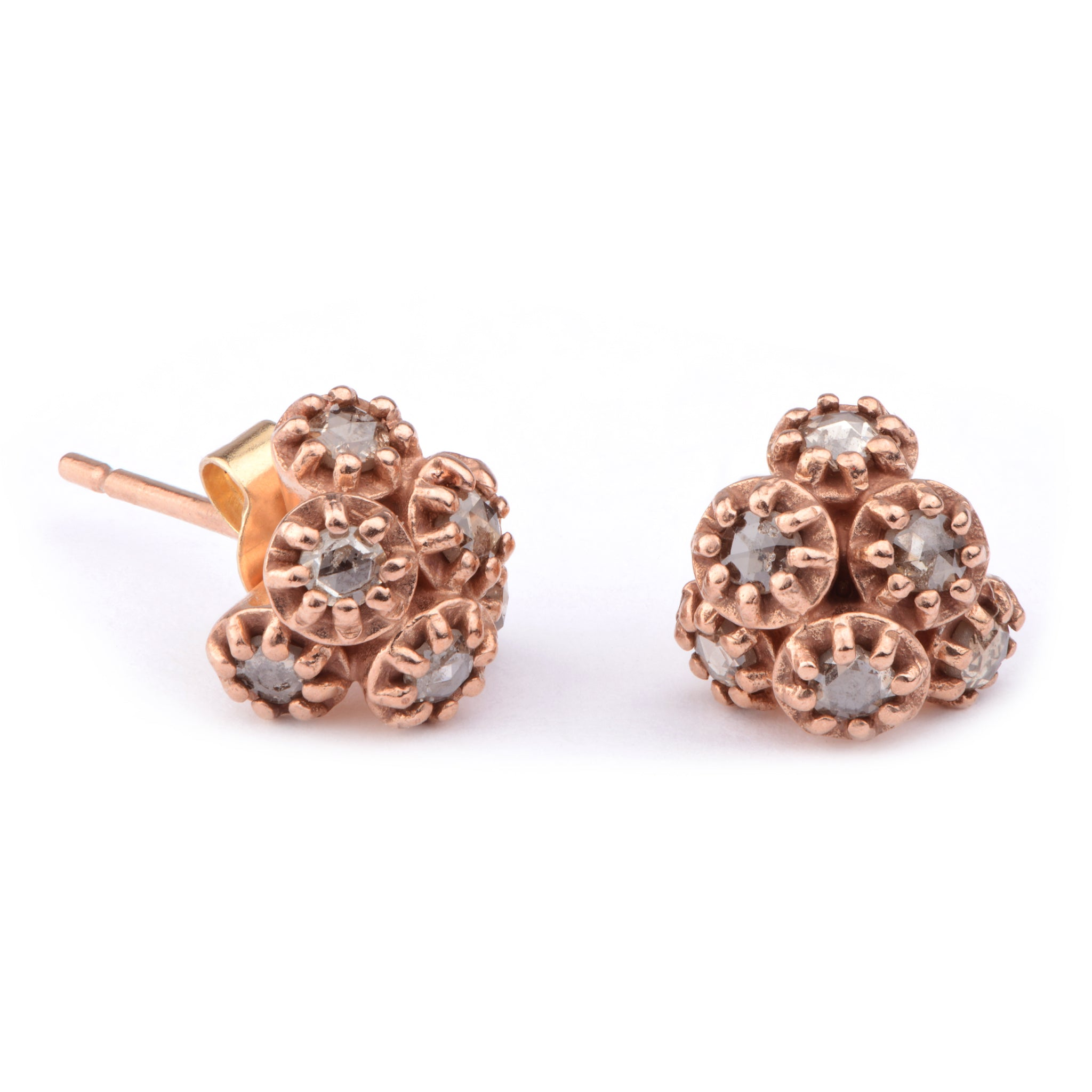 Fiori Diamond Cluster Studs - James Newman Jewellery