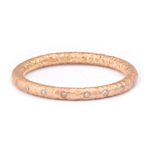 Fiori Red Gold Flush Set Diamond Ring - James Newman Jewellery