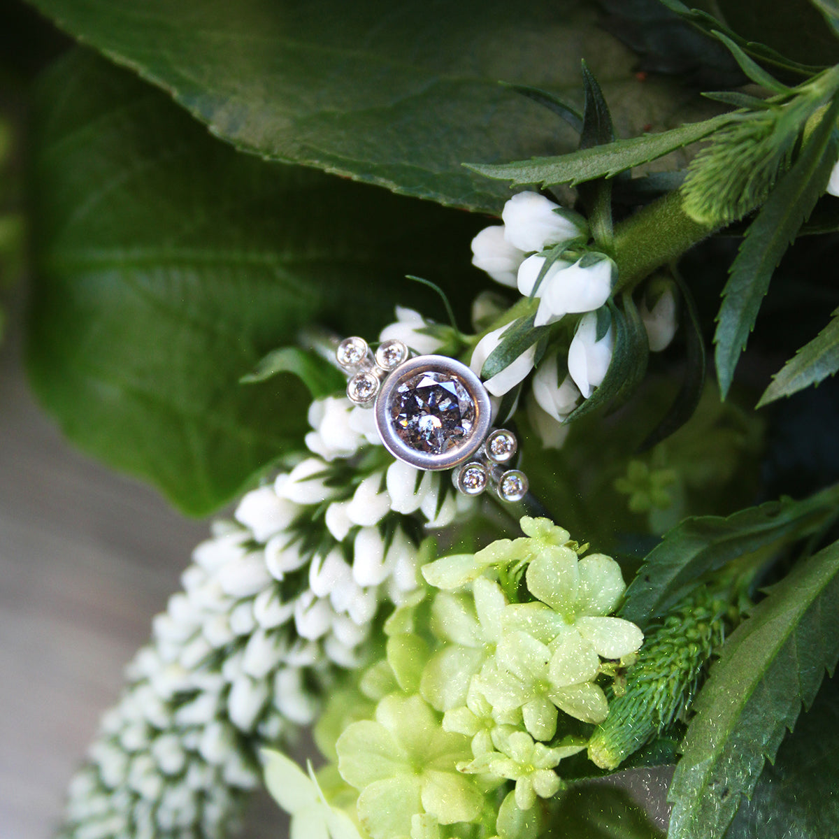 50pt Symmetrical Salt and Pepper Diamond and Platinum Cluster Ring - James Newman Jewellery