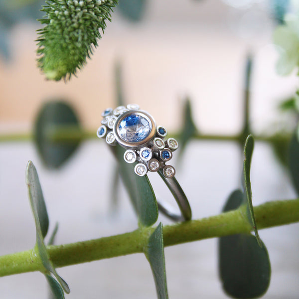 Unique Bi-Colour Sapphire & Platinum Cluster Ring - James Newman Jewellery