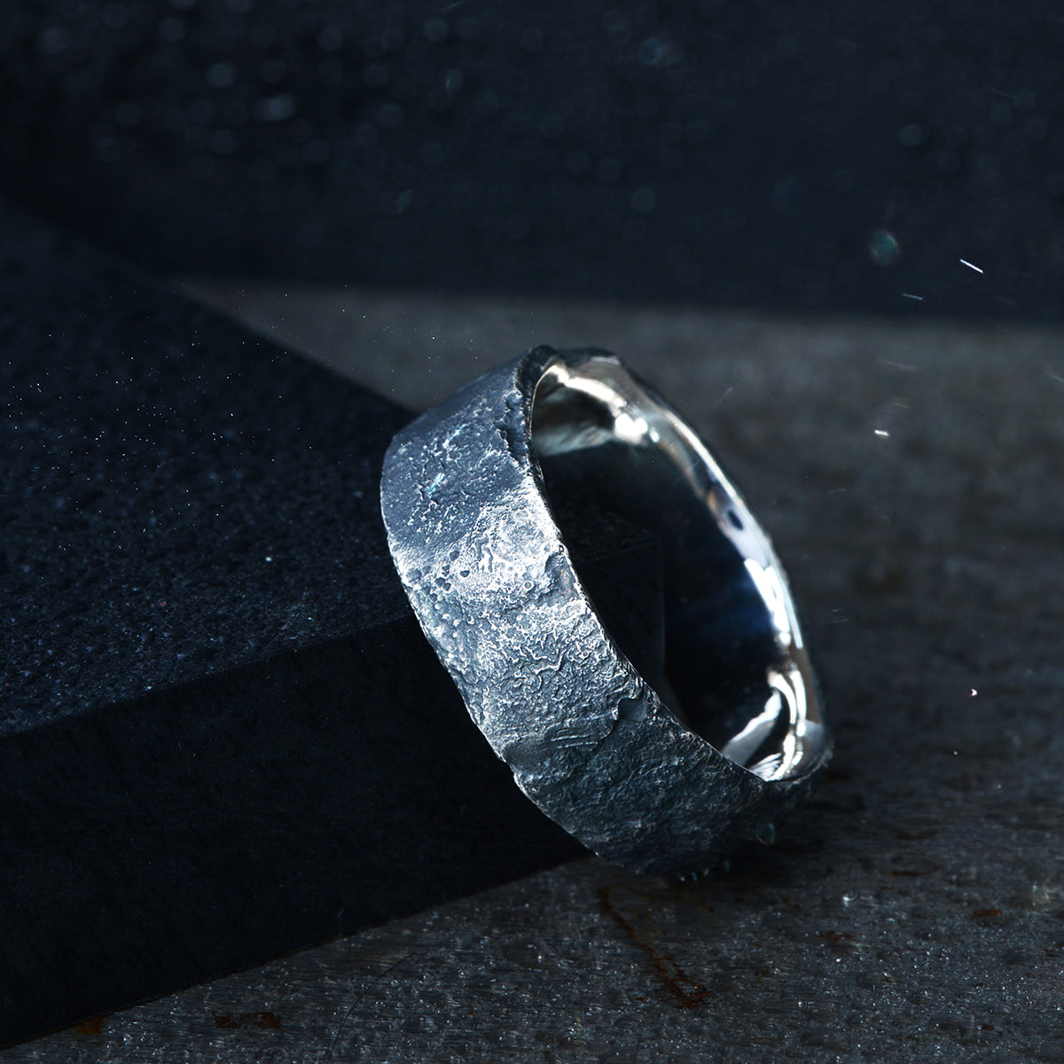 Wide Silver Oxidised Flux ring - James Newman Jewellery