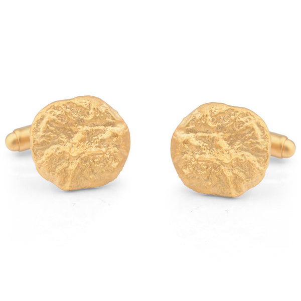 Flux Round Silver Yellow Gold Plated Cufflinks - James Newman Jewellery