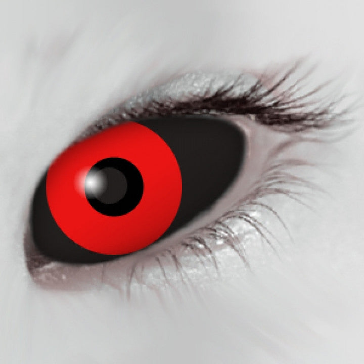 Black Red Scleral Full Eye Coloured Contacts