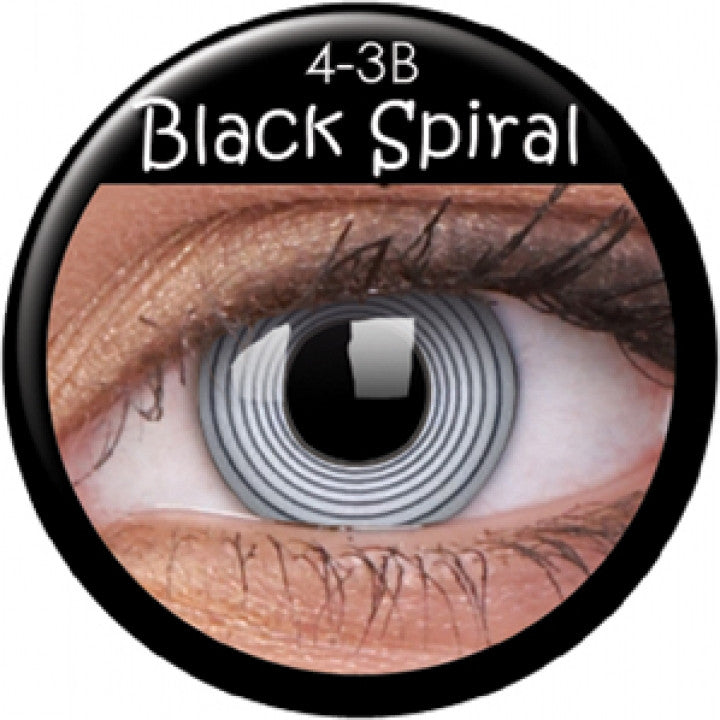 Black Spiral Coloured Contacts
