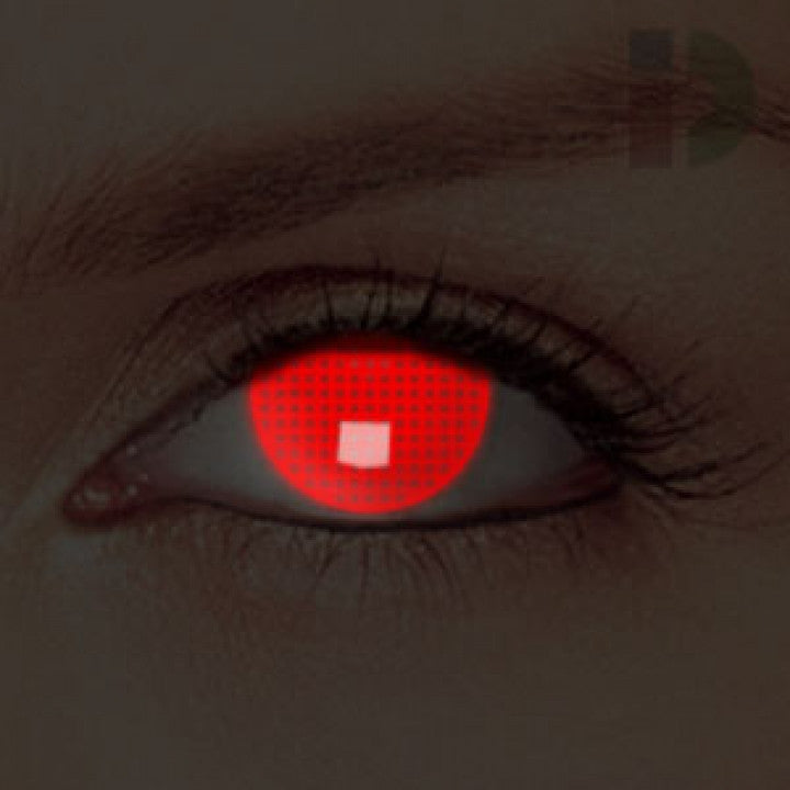Red Screen Glow In The Dark Contacts