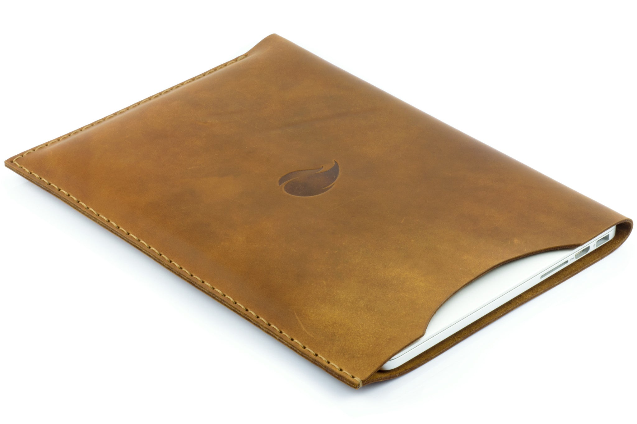 the best attitude 604c4 dc3b8 15 inch MacBook Pro Leather Sleeve, Brown Collection, Round Cut