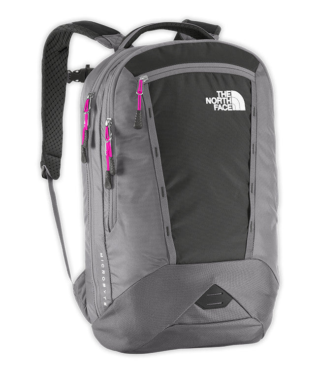 The North Face Women's Microbyte Backpack in Asphalt Grey Heather and Luminous Pink