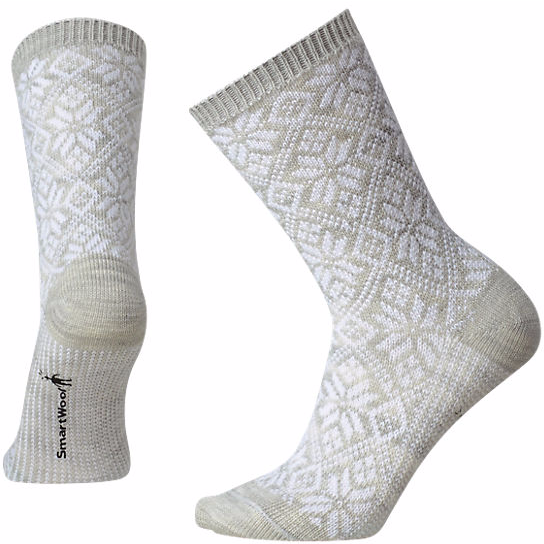 Smartwool Women's Traditional Snowflake Sock in Ash Heather (Light Grey)