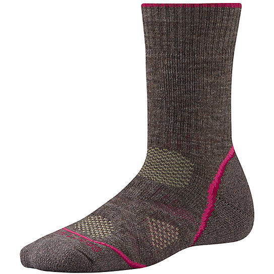Smartwool Women's PhD Outdoor Heavy Crew Socks in Taupe (Brown with Pink accents)