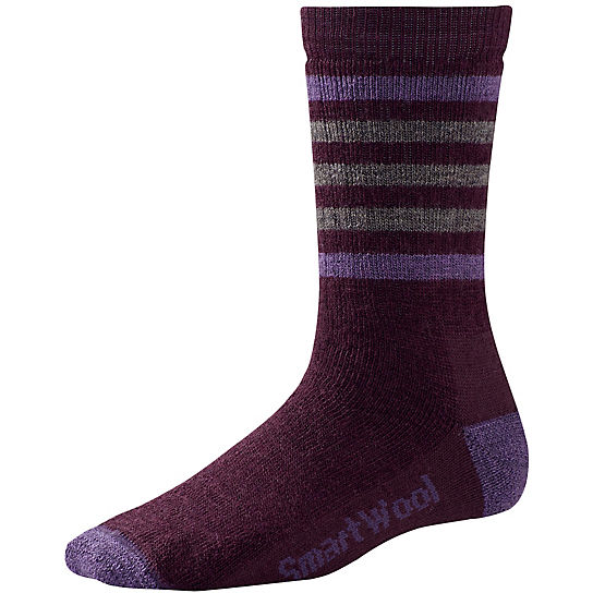 Smartwool Women's Striped Hike Medium Crew Sock in Aubergine (purple)