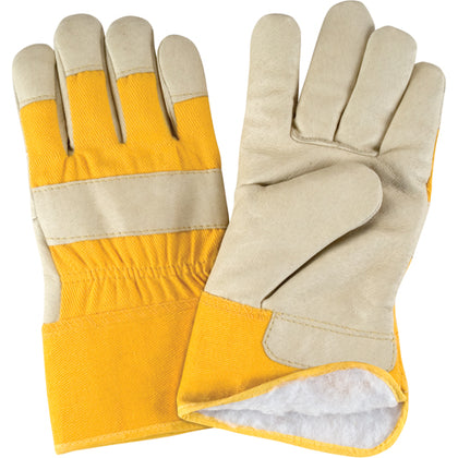 Acrylic Boa-Lined Grain Pigskin Fitters Gloves