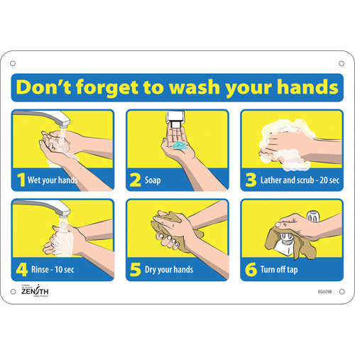 """""""Don't Forget to Wash Your Hands"""" Pictogram Sign"""
