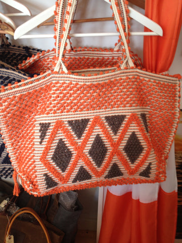 Orange Antonello Hand Woven Large Beach Tote