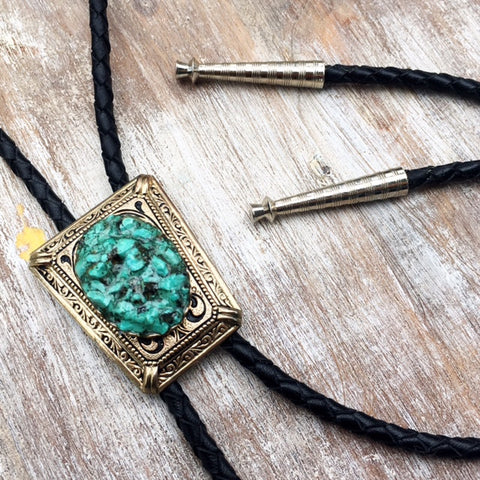 High Noon Bolo Tie - Crushed Turquoise & Brass