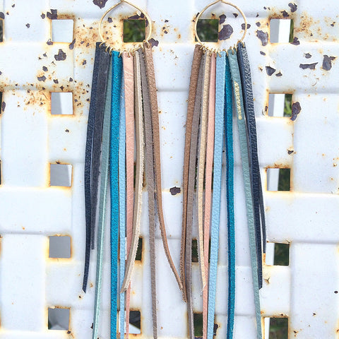 FOXFIRE LEATHER EARRINGS - HAMPTONS