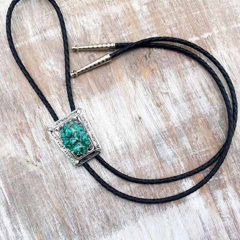 High Noon Bolo Tie - Crushed Turquoise & Silver