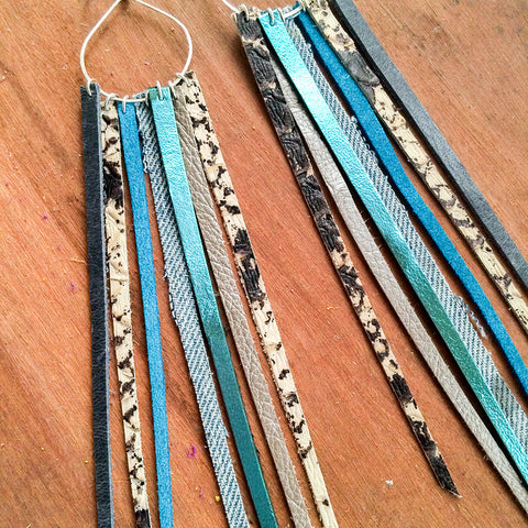 FOXFIRE LEATHER EARRRINGS – BLUE SHIMMER, DENIM, SNAKE SKIN