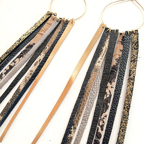 FOXFIRE LEATHER EARRRINGS – GLAM GOLD, BLACK & SNAKE SKIN