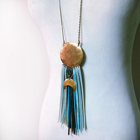 GONG SHOW LEATHER FRINGE NECKLACE