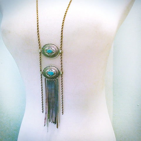 HAWK EYE VINTAGE CONCHO & LEATHER FRINGE NECKLACE