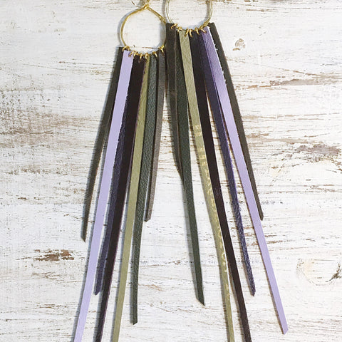 FOXFIRE LEATHER EARRINGS - LAVENDER & KHAKI