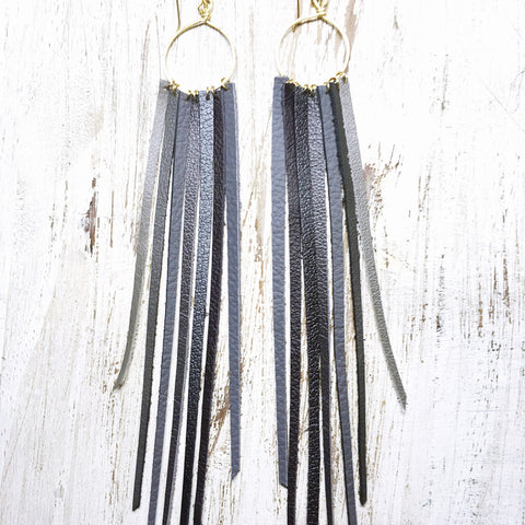 FOXFIRE LEATHER EARRINGS - SHADES OF GREY