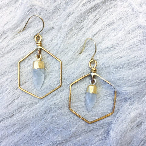 SuperNova Moonstone Hexagon Hoop Earrings