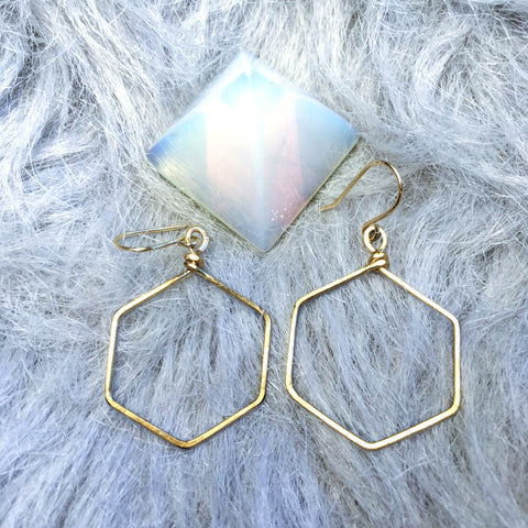 Nova Hexagon Hoop  Earrings